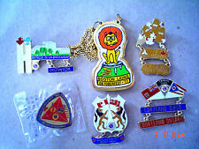 AWESOME 5 VINTAGE CANADIAN LIONS CLUB PINS AND ONE LARGE NECKLACE