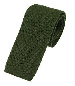 Men's Plain Olive Green Wool Knitted Tie (U102/30)