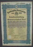 4 1/2% German Government City of Hamburg 100000 Mark Bond 1919 uncanc + coupons