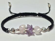 Shamballa Macrame Bracelet Rose Quartz & Amethyst Fashion ~ Chakra Healing Reiki