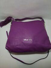 Michael Kors Purple Pebbled Leather Slouchy Handbag w/Silver Chain & Tassel
