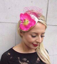 Hot Pink Gold Orchid Flower Fascinator Net Hair Headband Races Wedding Vtg 3508