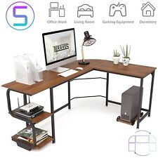 Reversible L Shaped Desk With Shelves Round Corner Computer Desk For Home Office