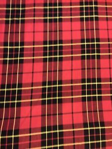 """NOS 2 Yards Vintage Red Plaid Fabric By the Yard Flannel Black Yellow 60"""" Wide"""