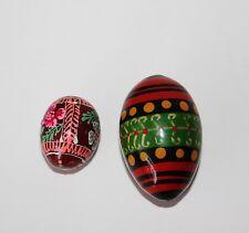 Vtg Russian Ukrainian Hand Painted Wooden Egg Sculpture Paperweight Set of 2