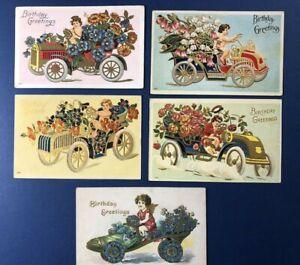 5 Birthday Antique Postcards, 1900s. EMB Gold Trim. Child, Angel w Auto. NICE