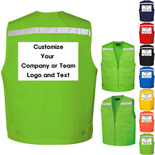 Custom Your Company Text Logo Printed Safety Hi Vis Reflective Vest Waistcoat