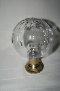 Clear GLASS Ball Newel Post FINIAL w Metal Base w 12 Pt STAR & Ovals Bannister