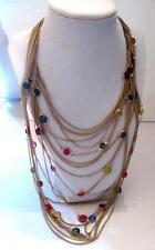 """Multiple Chain Necklace Gold Tone Colored Acrylic Beads Graduated Length 18-30"""""""