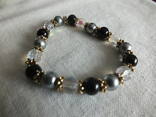 "Beautiful Stretch Bracelet Gold Tone Black Gray Clear AB Beads 3/8"" Wide NICE"