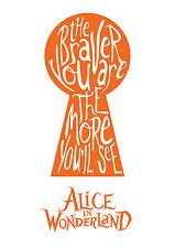 Alice in Wonderland - Orange Typography quote Decorative Vinyl Wall Sticker