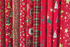"CHRISTMAS 100% COTTON FABRIC 10 x 10"" RED SQUARE CRAFT PATCHWORK LAYER CAKE PACK"