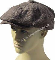 Peaky Blinders Tweed Newsboy Hat herringbone Gatsby Cap Flat 8 Panel Baker  Boy f381a75cd210