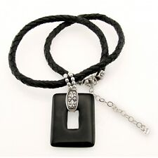 Black Leather Sterling Silver Necklace with Onyx Pendant