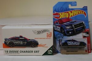 HOT WHEELS id '15 DODGE CHARGER SRT POLICE / DODGE CHARGER DRIFT POLICE LOT OF 2