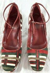 GUCCI Signature Velvet Multicolor Wedges Women's Shoes US 6.5B