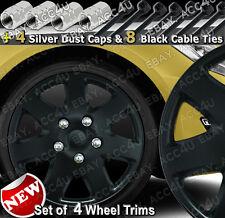 "14"" Matt Black 7 Spoke Set of 4 Car Wheel Trim Hub Cover 4 Dust Caps 8 Cable Tie"