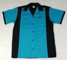 Bose Employee Hilton Bowling Shirt Short Sleeve Button Front Blue Black Mens S
