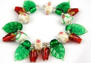 19 PCS Lampwork Glass Beads Handmade Cranberry Roses and Leaf Loose Spacer Craft