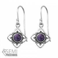 925 Sterling Silver Flower with Amethyst Gemstone Drop/Dangle Earrings