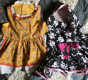 "Dog Clothes 2 Lot XXL HANDMADE Costumes HALLOWEEN dresses 32"" Waist"