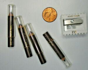 MARY KAY ~  LOT of 4 Chestnut eyebrow eye brow wooden pencils liner & sharpener