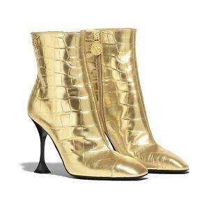 NIB CHANEL 19A Gold Calfskin Croc Embossed Cap Top Ankle Booties EUR 37 US 6.5