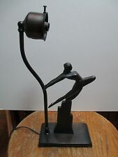 Hirsch Modern Vintage Art Deco Bronze Flying Lady Lamp