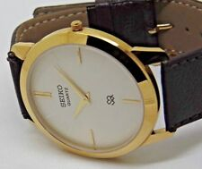 MEN SEIKO 42MM DIAMETER SUPER SLIM QUARTZ GOLD PLATED WHITE DIAL WATCH RUN ORDER