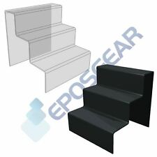 More details for 3 step tier clear black white acrylic perspex retail counter display riser stand