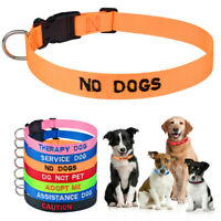 Dog Collar Color Coded Warning Small Medium Large Dogs Nylon Safety Caution Red
