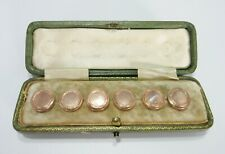 Antique 10K Rose Gold Mother of Pearl Buttons Original Case Set of 6