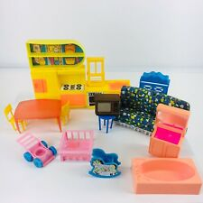 Vintage Plastic Doll House Furniture Arco & Others Kitchen Pink Bathroom 17 Pc