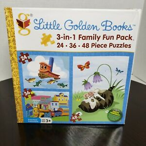 LITTLE GOLDEN BOOKS 3 - IN - 1 FAMILY FUN PACK PUZZLE  AGE 3+ PRESCHOOL
