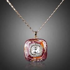 18K Rose GP Made W/Swarovski Crystal Dark Red Oil Painting Pendant Necklace