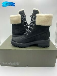 Timberland Womens Courmayeur Valley 6 Inch Boot with Shearling, Black/Black, Siz