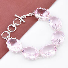 Party Gift Oval Cut Sweet Pink Topaz Gemstone Silver Charming Chain Bracelet