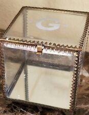 "NEW POTTERY BARN ANTIQUE BRASS 4"" GLASS JEWELRY BOX  MONOGRAM ""G"""
