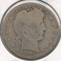 1901 Barber Silver Quarter - Philadelphia Mint - AZ138