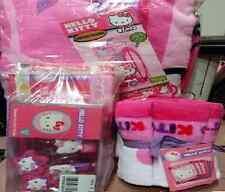 Hello Kitty Pink/Purple Shower Curtain, Hooks, Bath Towel 5pc Washcloth Gift Set
