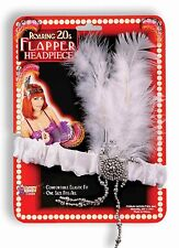 Roaring 20s Charleston Flapper White Headpiece and Feather Costume Accessory