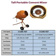 5 Cubic Ft/8 Cubic Ft Tall Portable Concrete Cement Mixer Free Standing