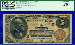TOP POP 1/0 CH # 1934 - 1882 B/B $5 ((FINEST Known - Nokomis, Illinois)) PCGS 20