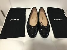 CHANEL Black patent leather flats, SZ 38