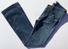 CAbi Distressed Blue Denim Jeans Size 4 S Low Rise Straight Leg Contrast Stitch