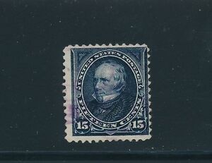 """U.S. #259 """"CLAY 15c""""; USED NO FAULTS; AS SHOWN FRONT & BACK: CV $70"""