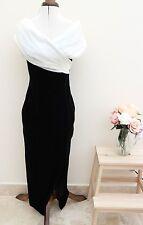 Vestido de noche de colección años 90 Negro Terciopelo del hombro Vestido elegante Wiggle UK 10