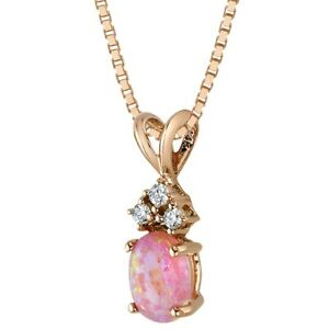 """Created Pink Opal with Genuine Diamonds Pendant in 14K Rose Gold Oval Shape, 18"""""""