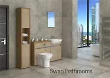 OAK / CAPPUCCINO GLOSS BATHROOM FITTED FURNITURE WITH TALL UNIT 1750MM