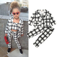 3Pcs Set Kids Baby Girls Clothes Plaid Coat Tops+Undercoat+Long Pants Outfits